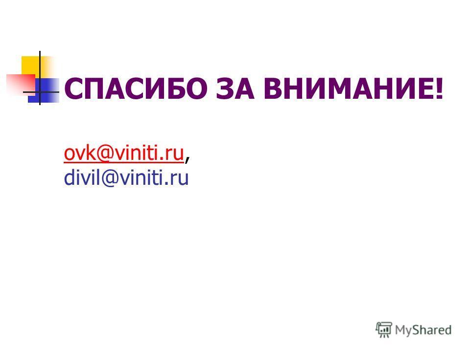 СПАСИБО ЗА ВНИМАНИЕ! ovk@viniti.ru, divil@viniti.ru ovk@viniti.ru