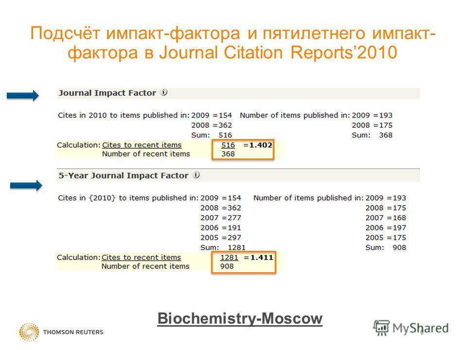 Подсчёт импакт-фактора и пятилетнего импакт- фактора в Journal Citation Reports2010 6 Biochemistry-Moscow