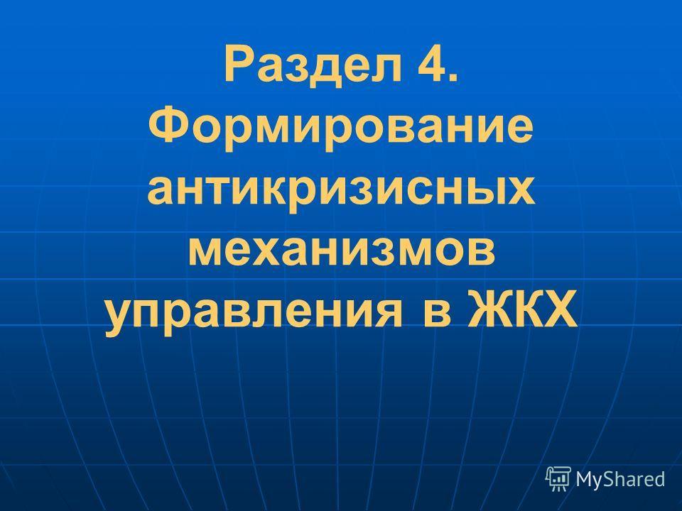 Раздел 4. Формирование антикризисных механизмов управления в ЖКХ