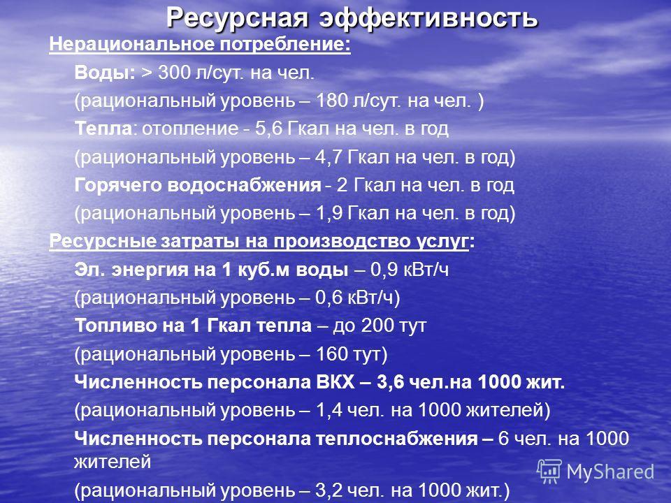 Нерациональное потребление: Воды: > 300 л/сут. на чел. (рациональный уровень – 180 л/сут. на чел. ) Тепла: отопление - 5,6 Гкал на чел. в год (рациональный уровень – 4,7 Гкал на чел. в год) Горячего водоснабжения - 2 Гкал на чел. в год (рациональный