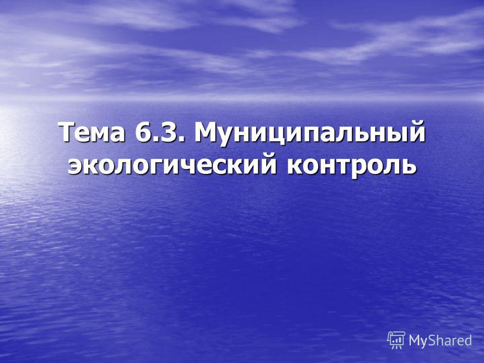 Тема 6.3. Муниципальный экологический контроль