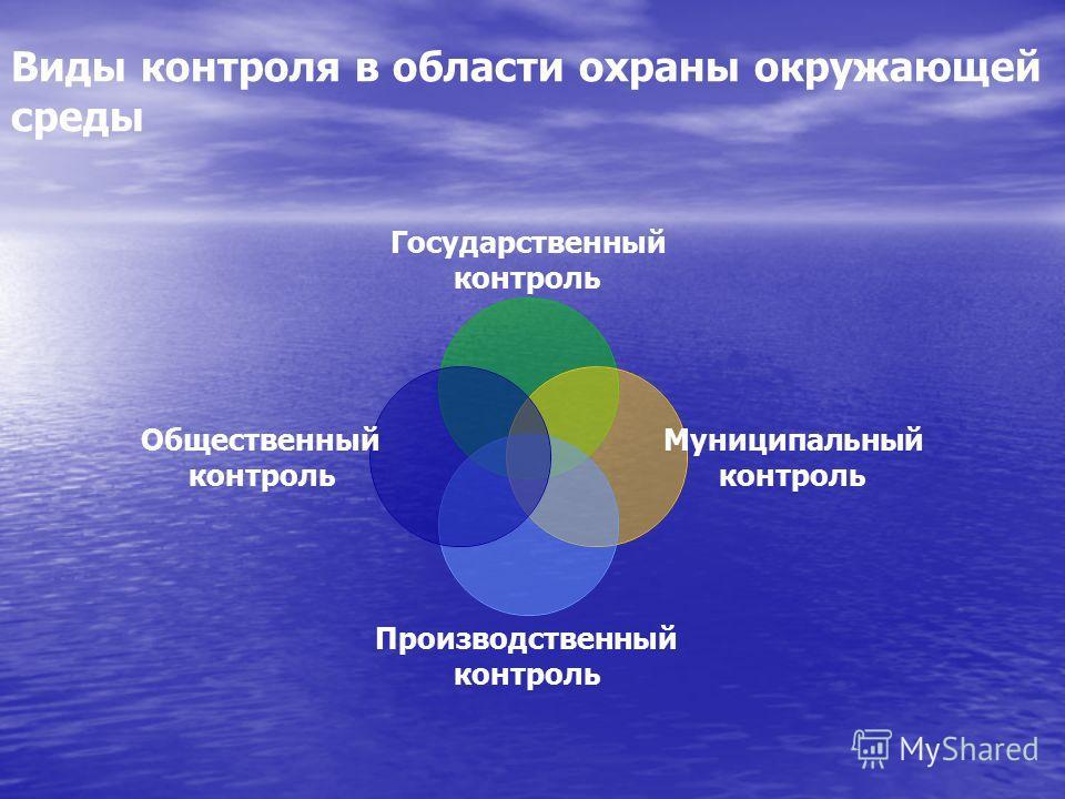 Виды контроля в области охраны окружающей среды Государственный контроль Муниципальный контроль Производственный контроль Общественный контроль