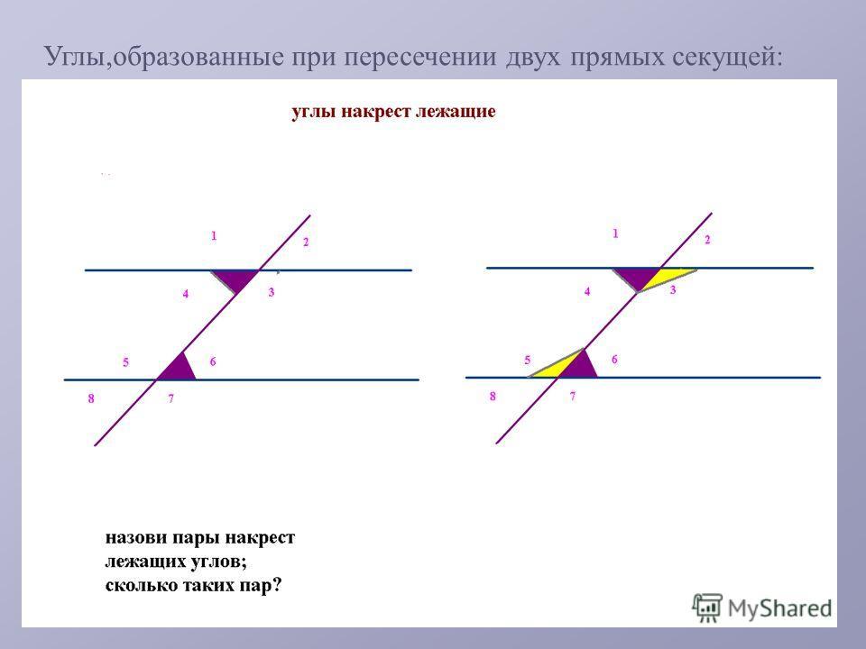 Углы,образованные при пересечении двух прямых секущей: