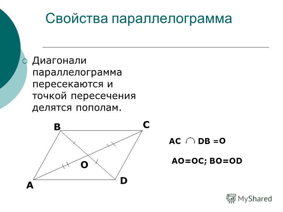 Свойства параллелограмма Диагонали параллелограмма пересекаются и точкой пересечения делятся пополам. А В С D O ACDB =O=O AO=OC; ВО=ОD