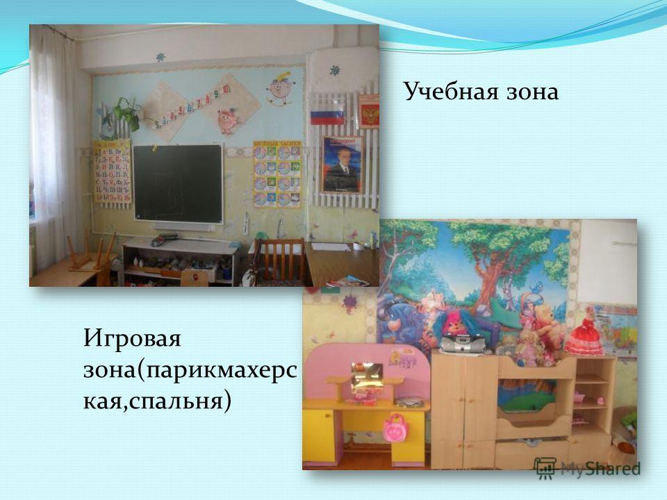 Игровая зона(парикмахерс кая,спальня) Учебная зона
