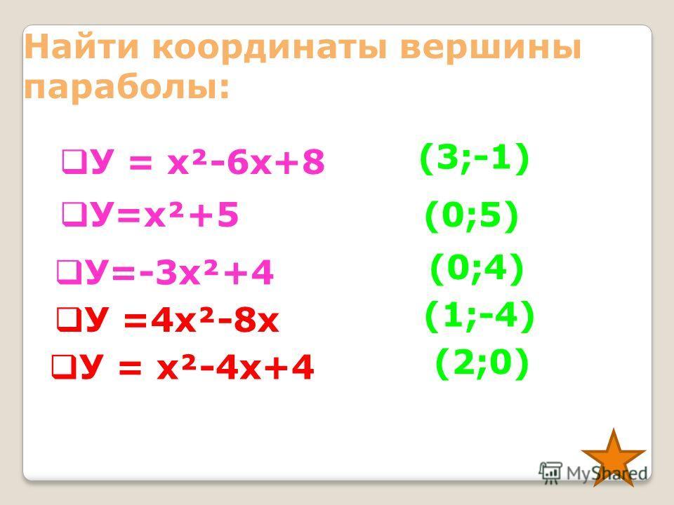 Найти координаты вершины параболы: У=2(х-4)² +5 У=-6(х-1)² У = -х²+12 У= х²+4 У= (х+7)² - 9 У=6 х² (4;5) (1;0) (0;12) (0;4) (-7;-9) (0;0)