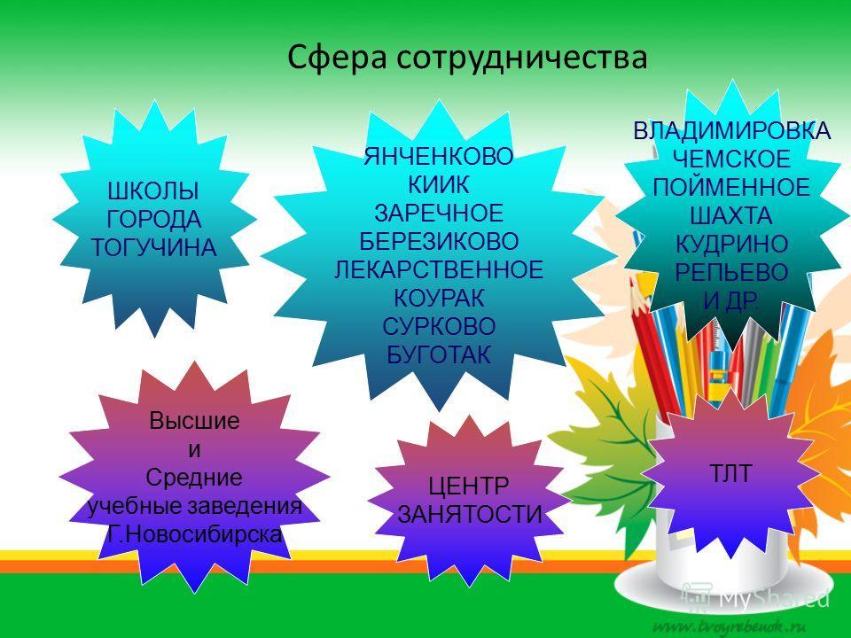 Сфера сотрудничества ШКОЛЫ ГОРОДА ТОГУЧИНА ЦЕНТР ЗАНЯТОСТИ Высшие и Средние учебные заведения Г.Новосибирска ТЛТ ВЛАДИМИРОВКА ЧЕМСКОЕ ПОЙМЕННОЕ ШАХТА КУДРИНО РЕПЬЕВО И ДР. ЯНЧЕНКОВО КИИК ЗАРЕЧНОЕ БЕРЕЗИКОВО ЛЕКАРСТВЕННОЕ КОУРАК СУРКОВО БУГОТАК