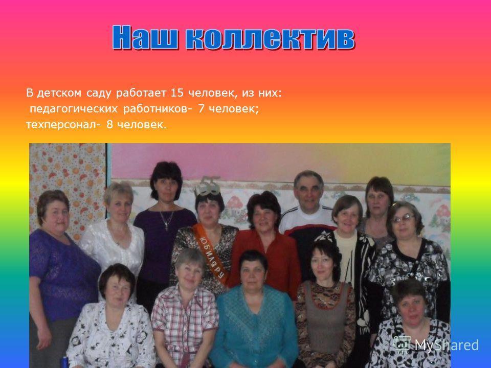 В детском саду работает 15 человек, из них: педагогических работников- 7 человек; техперсонал- 8 человек.