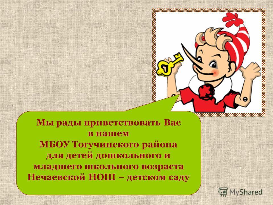 Мы рады приветствовать Вас в нашем МБОУ Тогучинского района для детей дошкольного и младшего школьного возраста Нечаевской НОШ – детском саду