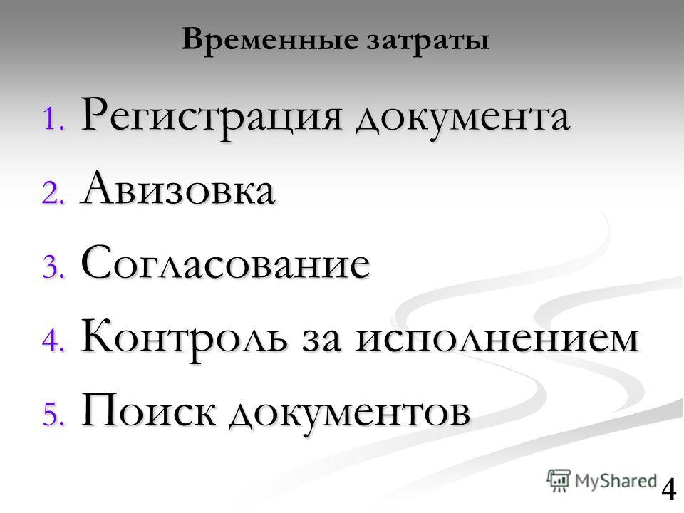Временные затраты 4 1. Регистрация документа 2. Авизовка 3. Согласование 4. Контроль за исполнением 5. Поиск документов