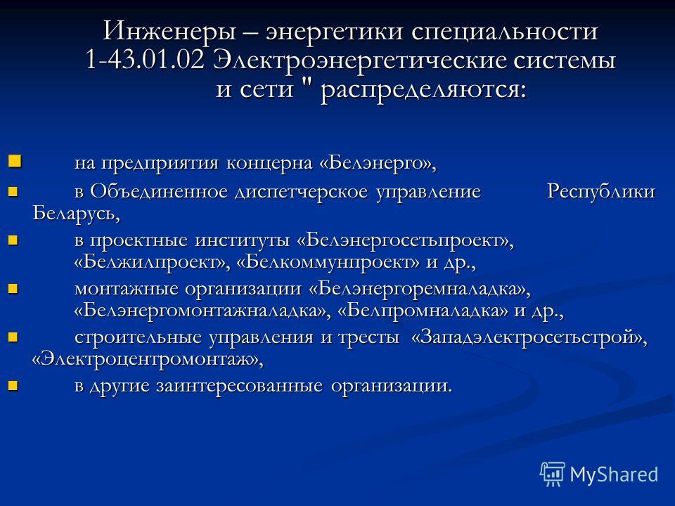 Инженеры – энергетики специальности 1-43.01.02 Электроэнергетические системы и сети