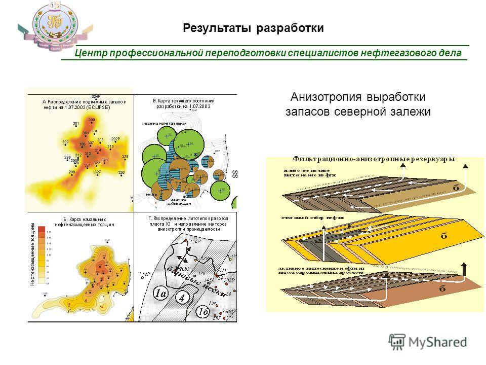 Центр профессиональной переподготовки специалистов нефтегазового дела Результаты разработки Анизотропия выработки запасов северной залежи