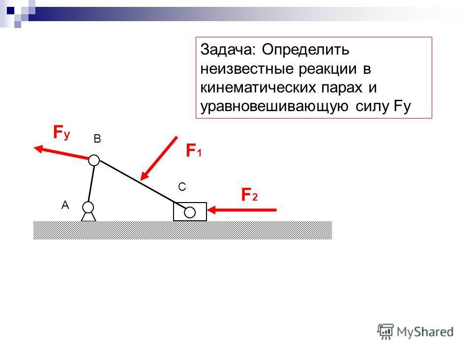 F1F1 F2F2 FуFу А B C Задача: Определить неизвестные реакции в кинематических парах и уравновешивающую силу Fy