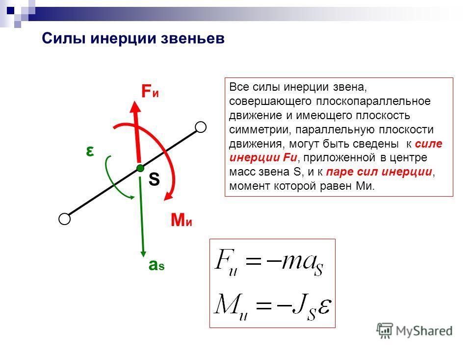 FиFи MиMи S Все силы инерции звена, совершающего плоскопараллельное движение и имеющего плоскость симметрии, параллельную плоскости движения, могут быть сведены к силе инерции Fи, приложенной в центре масс звена S, и к паре сил инерции, момент которо