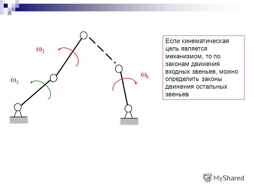Если кинематическая цепь является механизмом, то по законам движения входных звеньев, можно определить законы движения остальных звеньев 1 2 k