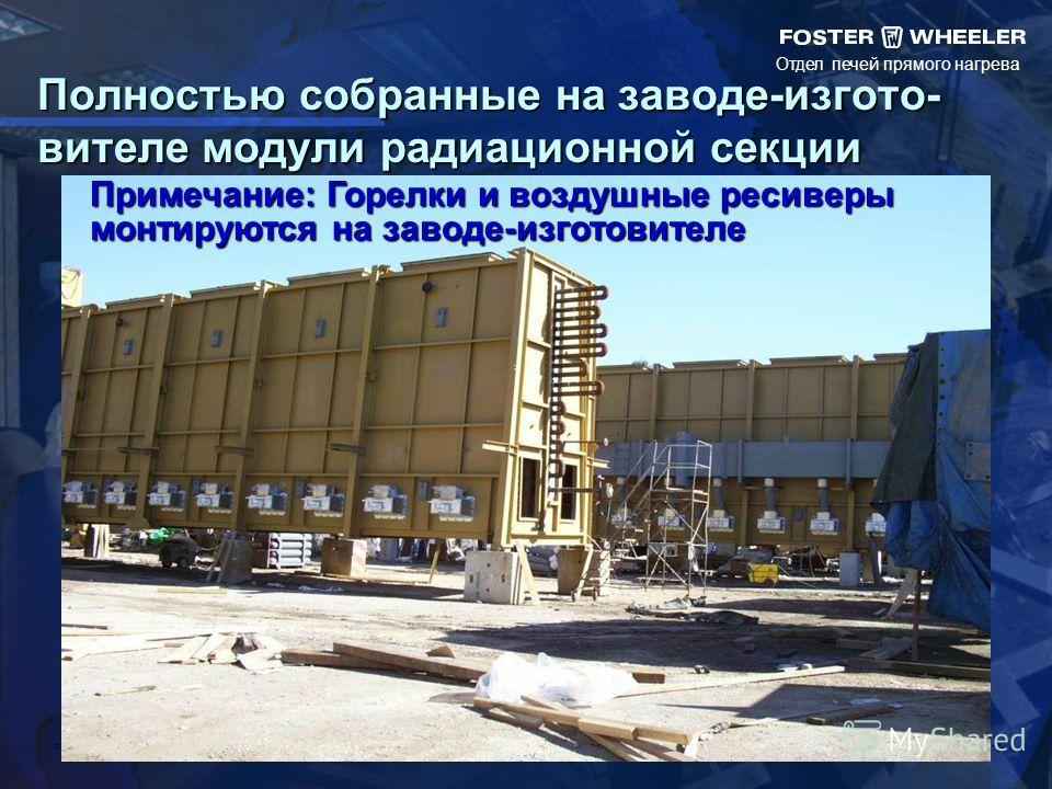 Отдел печей прямого нагрева FILENAME 12 Полностью собранные на заводе-изгото- вителе модули радиационной секции Примечание: Горелки и воздушные ресиверы монтируются на заводе-изготовителе