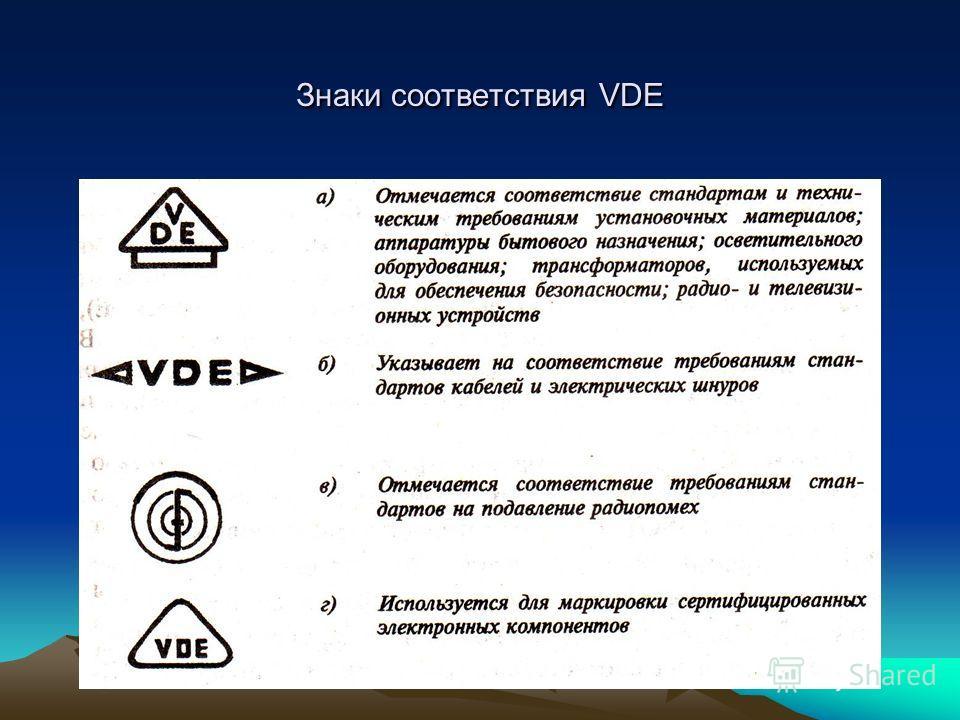 Знаки соответствия VDE