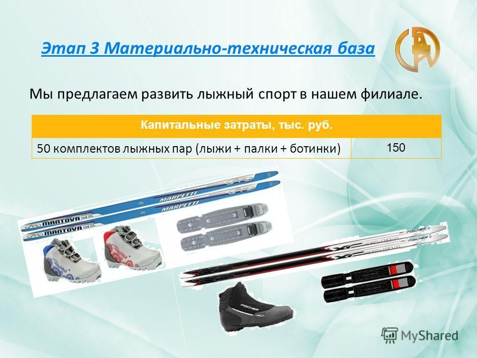 Этап 3 Материально-техническая база Мы предлагаем развить лыжный спорт в нашем филиале. Капитальные затраты, тыс. руб. 50 комплектов лыжных пар (лыжи + палки + ботинки) 150