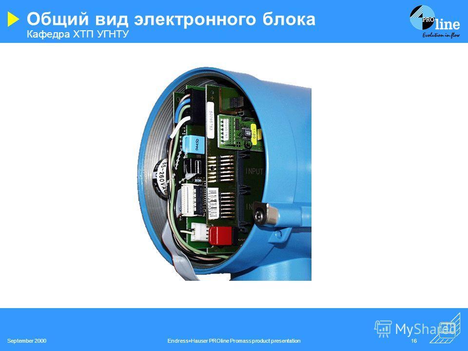 Кафедра ХТП УГНТУ September 2000Endress+Hauser PROline Promass product presentation15 Преобразователь Коммуникация Гибкие комплект модулей ввода/вывода HART, Profibus PA и DP, FF Сервисный интерфейс (Подсоединение к сервисному оборудованию с соответс