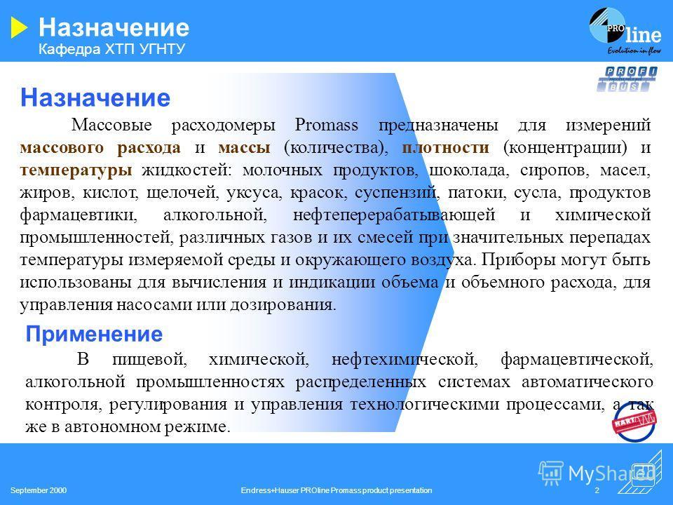 Кафедра ХТП УГНТУ September 2000Endress+Hauser PROline Promass product presentation1 КОРИОЛИСОВЫЕ МАССОВЫЕ РАСХОДОМЕРЫ