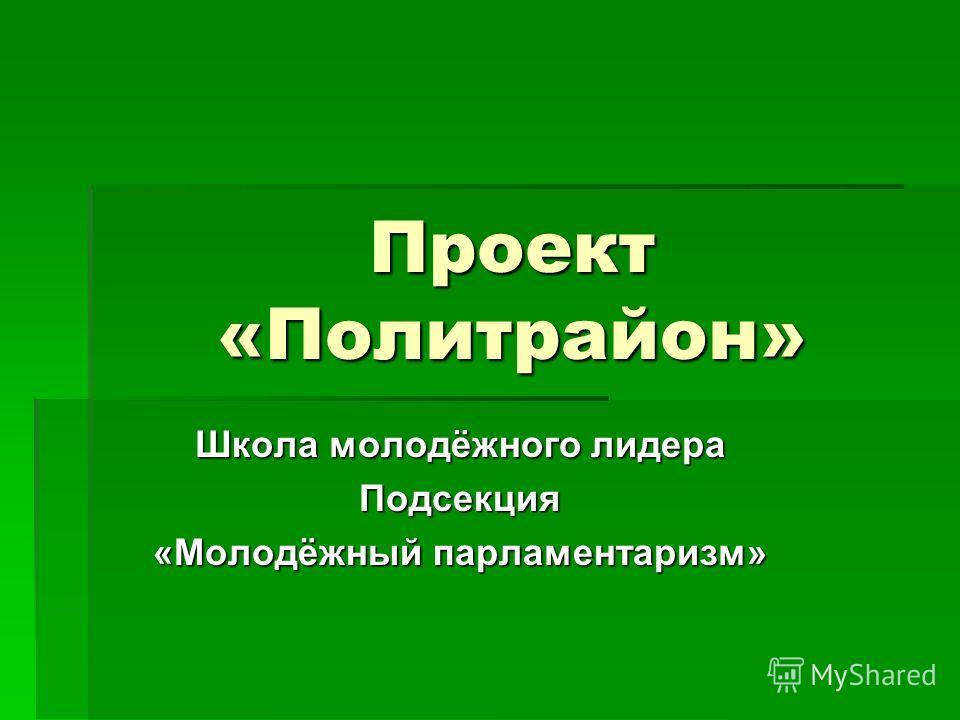 Проект «Политрайон» Школа молодёжного лидера Подсекция «Молодёжный парламентаризм»