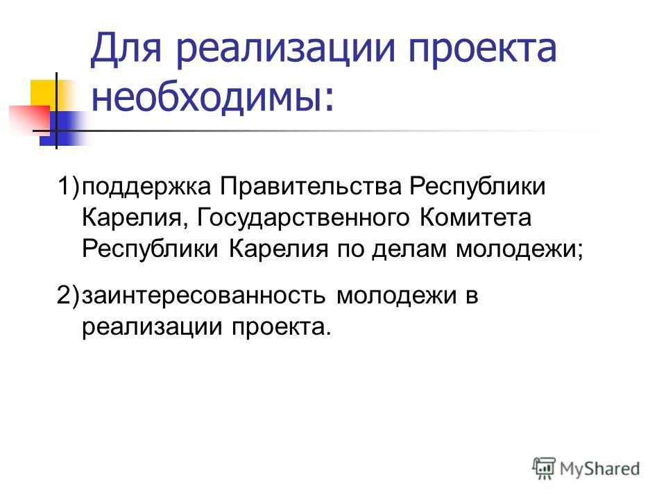 Для реализации проекта необходимы: 1)поддержка Правительства Республики Карелия, Государственного Комитета Республики Карелия по делам молодежи; 2)заинтересованность молодежи в реализации проекта.