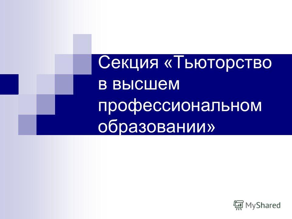 Секция «Тьюторство в высшем профессиональном образовании»