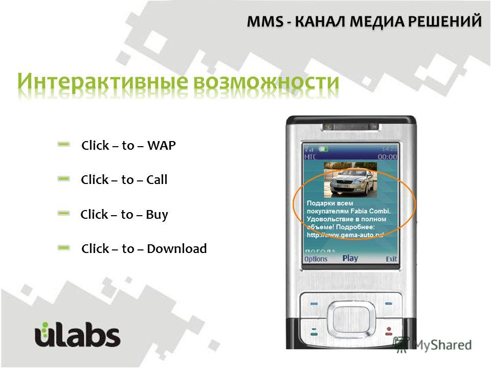 MMS - КАНАЛ МЕДИА РЕШЕНИЙ Click – to – WAP Click – to – Call Click – to – Buy Click – to – Download