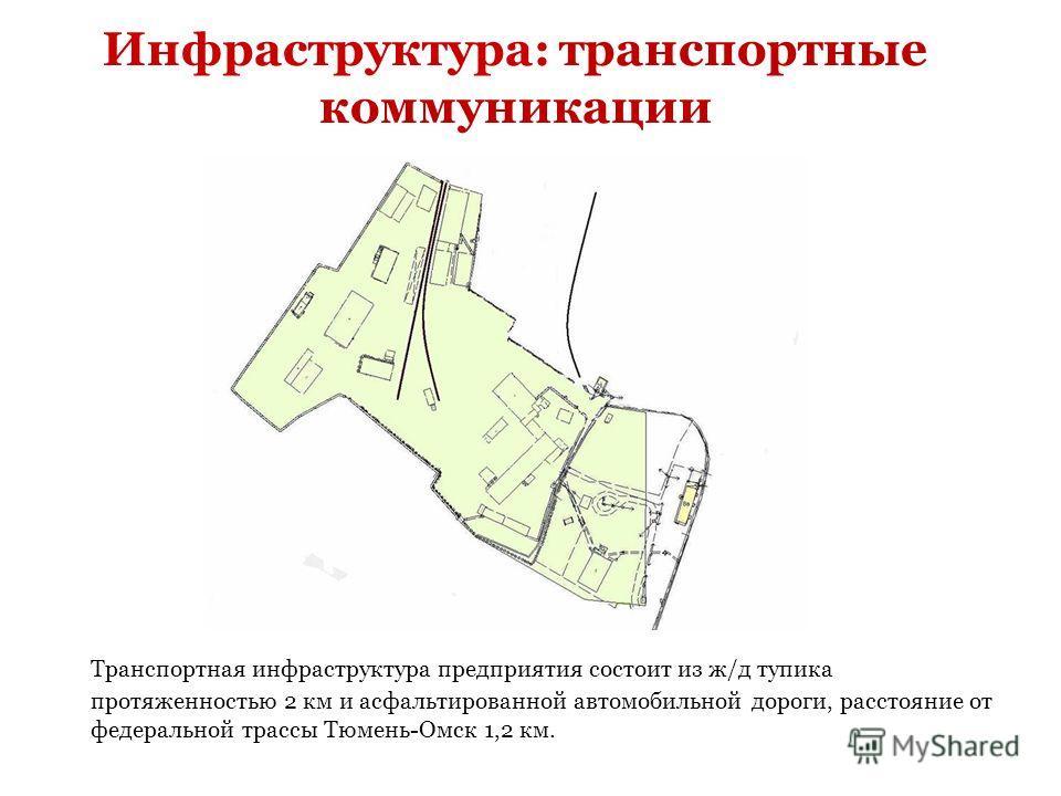 Инфраструктура: транспортные коммуникации Транспортная инфраструктура предприятия состоит из ж/д тупика протяженностью 2 км и асфальтированной автомобильной дороги, расстояние от федеральной трассы Тюмень-Омск 1,2 км.