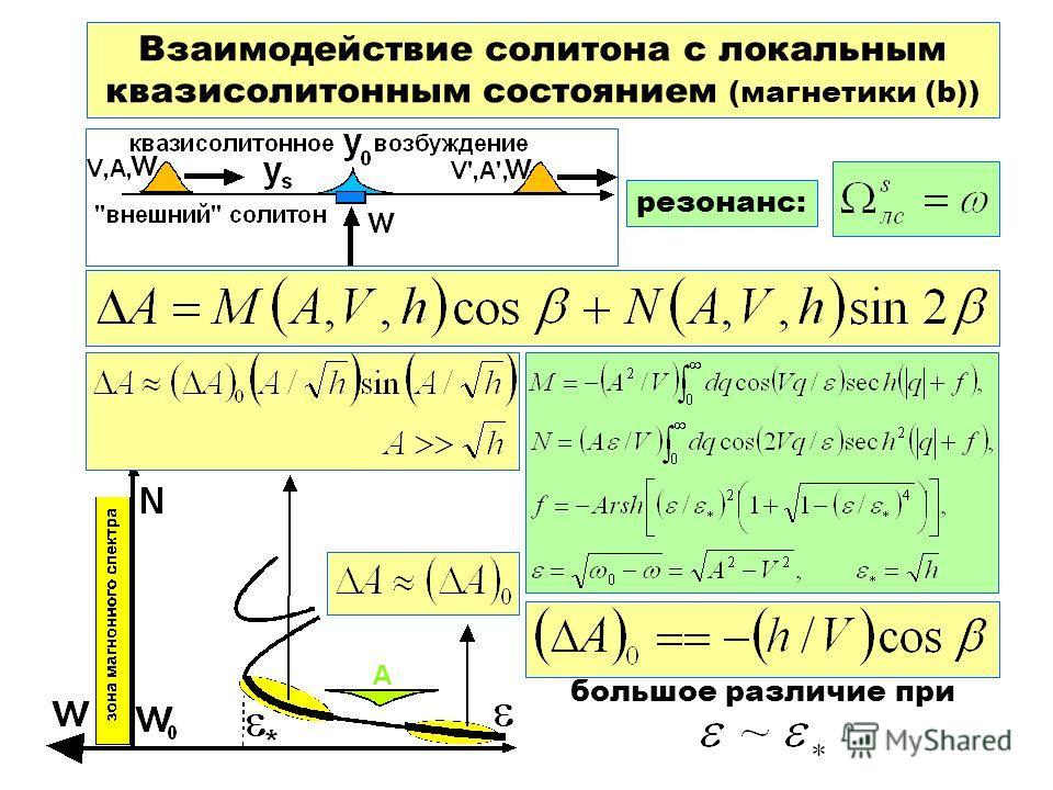 Взаимодействие солитона с локальным квазисолитонным состоянием (магнетики (b)) резонанс: большое различие при