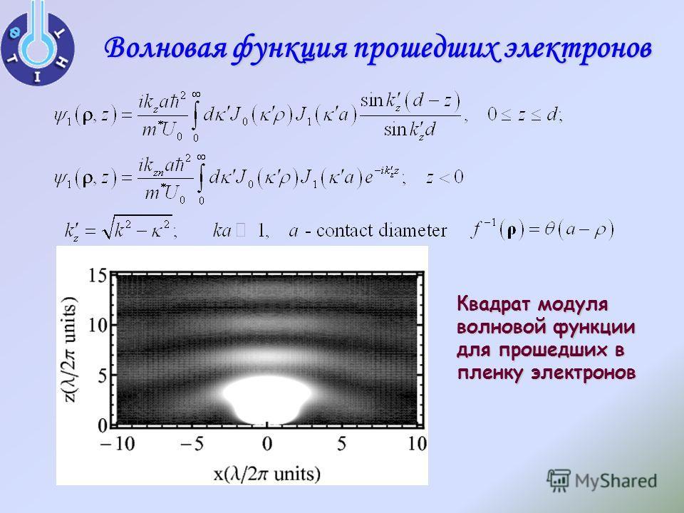 Волновая функция прошедших электронов Квадрат модуля волновой функции для прошедших в пленку электронов