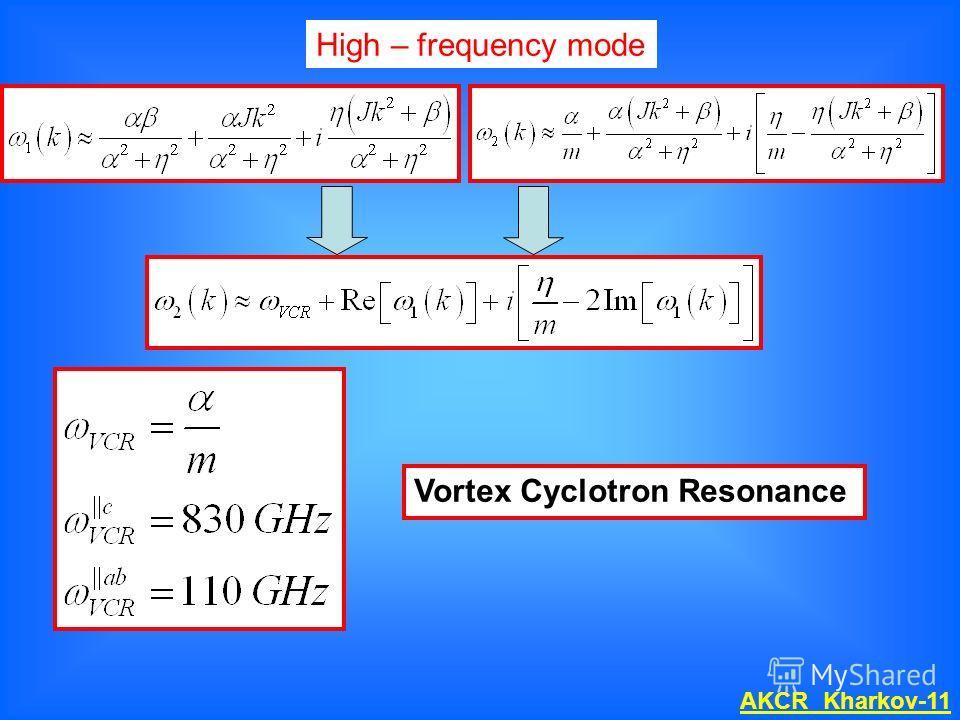 High – frequency mode Vortex Cyclotron Resonance AKCR Kharkov-11
