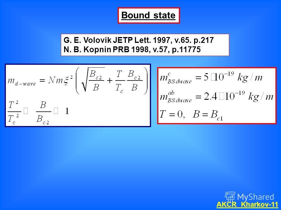 G. E. Volovik JETP Lett. 1997, v.65. p.217 N. B. Kopnin PRB 1998, v.57, p.11775 Bound state AKCR Kharkov-11