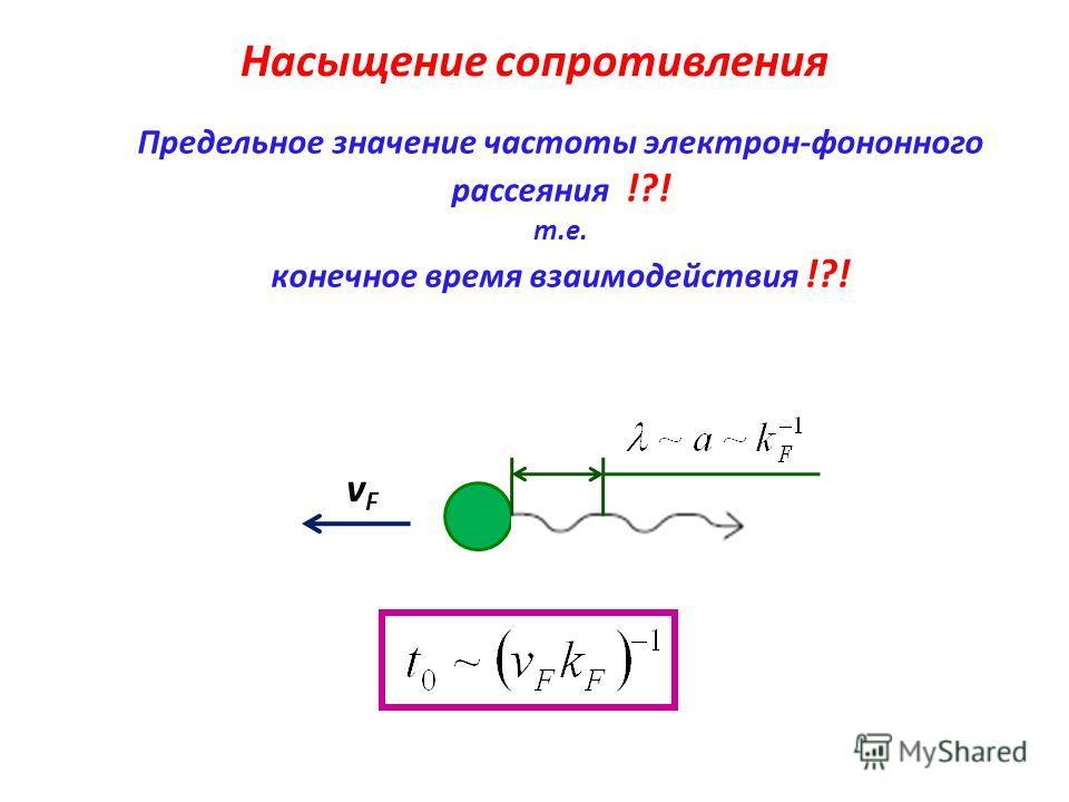 Насыщение сопротивления Предельное значение частоты электрон-фононного рассеяния !?! т.е. конечное время взаимодействия !?! vFvF
