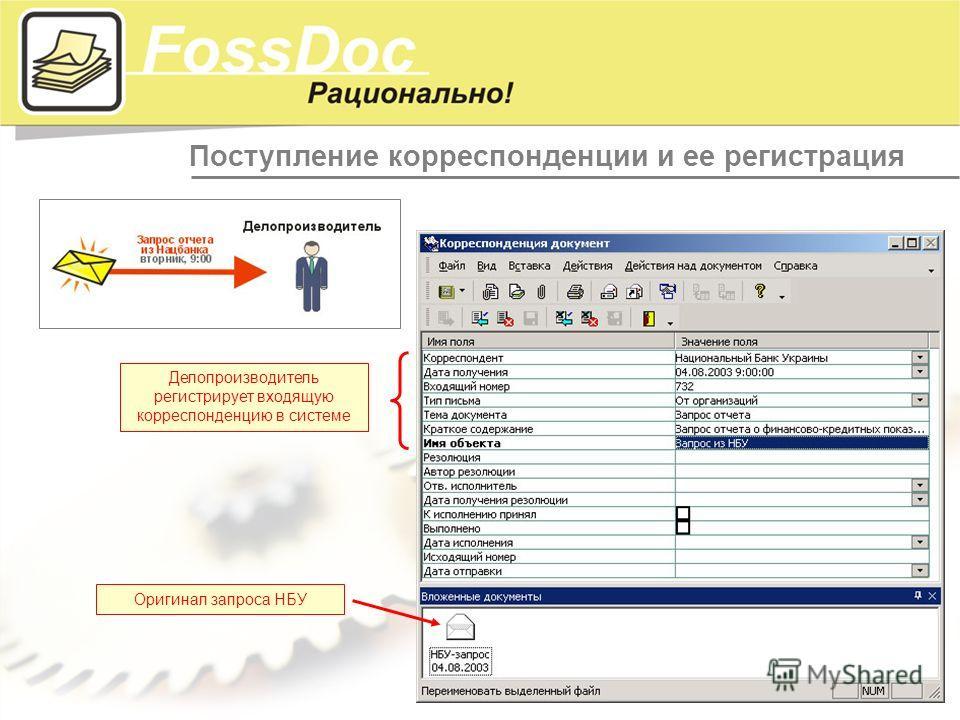 Поступление корреспонденции и ее регистрация Делопроизводитель регистрирует входящую корреспонденцию в системе Оригинал запроса НБУ