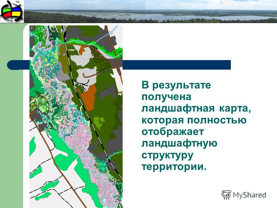 В результате получена ландшафтная карта, которая полностью отображает ландшафтную структуру территории.