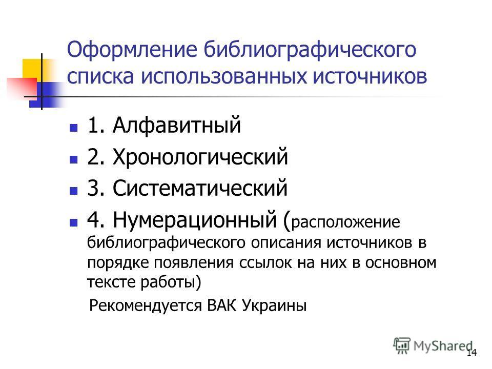 14 Оформление библиографического списка использованных источников 1. Алфавитный 2. Хронологический 3. Систематический 4. Нумерационный ( расположение библиографического описания источников в порядке появления ссылок на них в основном тексте работы) Р