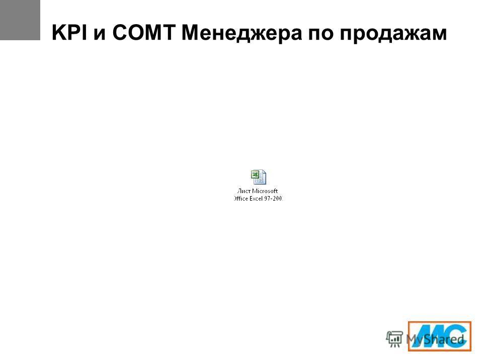 KPI и СОМТ Менеджера по продажам