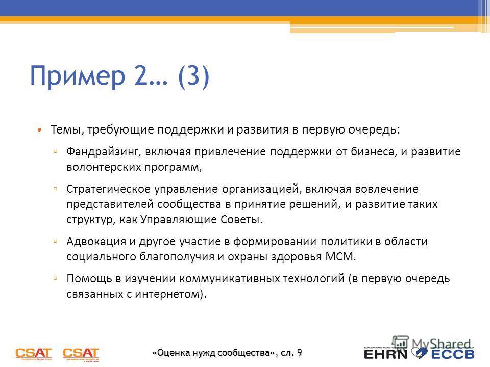 «Оценка нужд сообщества», сл. 9 Пример 2… (3) Темы, требующие поддержки и развития в первую очередь: Фандрайзинг, включая привлечение поддержки от бизнеса, и развитие волонтерских программ, Стратегическое управление организацией, включая вовлечение п