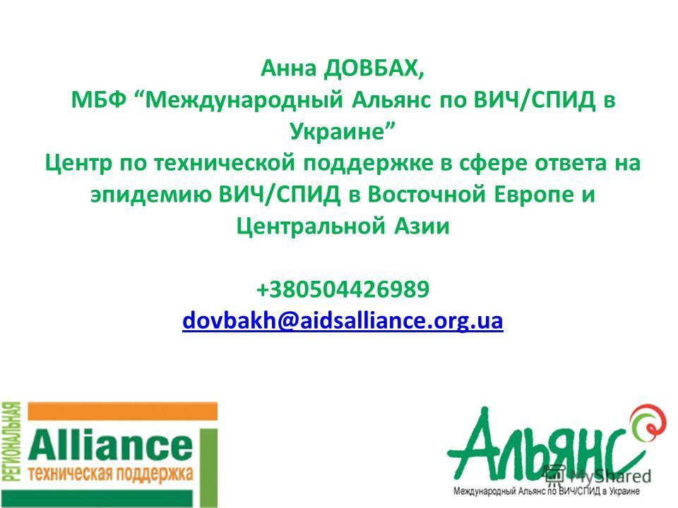 Анна ДОВБАХ, МБФ Международный Альянс по ВИЧ/СПИД в Украине Центр по технической поддержке в сфере ответа на эпидемию ВИЧ/СПИД в Восточной Европе и Центральной Азии +380504426989 dovbakh@aidsalliance.org.ua dovbakh@aidsalliance.org.ua