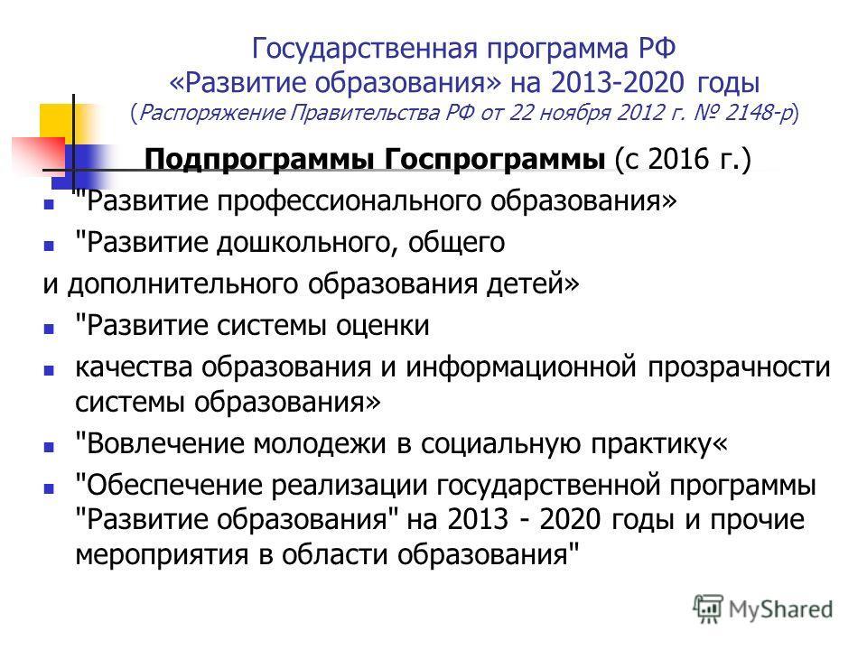 Государственная программа РФ «Развитие образования» на 2013-2020 годы (Распоряжение Правительства РФ от 22 ноября 2012 г. 2148-р) Подпрограммы Госпрограммы (с 2016 г.)