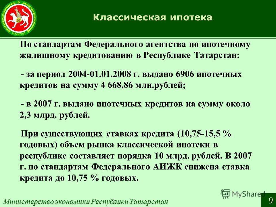 Классическая ипотека По стандартам Федерального агентства по ипотечному жилищному кредитованию в Республике Татарстан: - за период 2004-01.01.2008 г. выдано 6906 ипотечных кредитов на сумму 4 668,86 млн.рублей; - в 2007 г. выдано ипотечных кредитов н