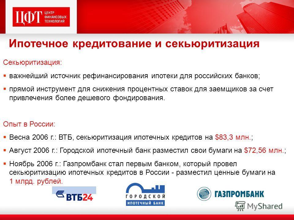 Секьюритизация: важнейший источник рефинансирования ипотеки для российских банков; прямой инструмент для снижения процентных ставок для заемщиков за счет привлечения более дешевого фондирования. Опыт в России: Весна 2006 г.: ВТБ, секьюритизация ипоте