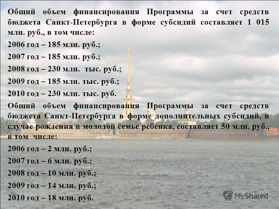 Общий объем финансирования Программы за счет средств бюджета Санкт-Петербурга в форме субсидий составляет 1 015 млн. руб., в том числе: 2006 год – 185 млн. руб.; 2007 год – 185 млн. руб.; 2008 год – 230 млн. тыс. руб.; 2009 год – 185 млн. тыс. руб.;