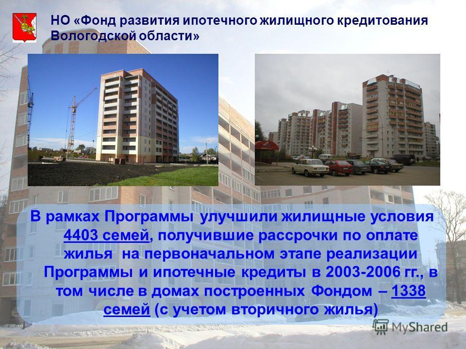 НО «Фонд развития ипотечного жилищного кредитования Вологодской области» В рамках Программы улучшили жилищные условия 4403 семей, получившие рассрочки по оплате жилья на первоначальном этапе реализации Программы и ипотечные кредиты в 2003-2006 гг., в