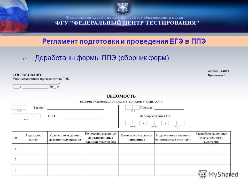 o Доработаны формы ППЭ (сборник форм) Регламент подготовки и проведения ЕГЭ в ППЭ