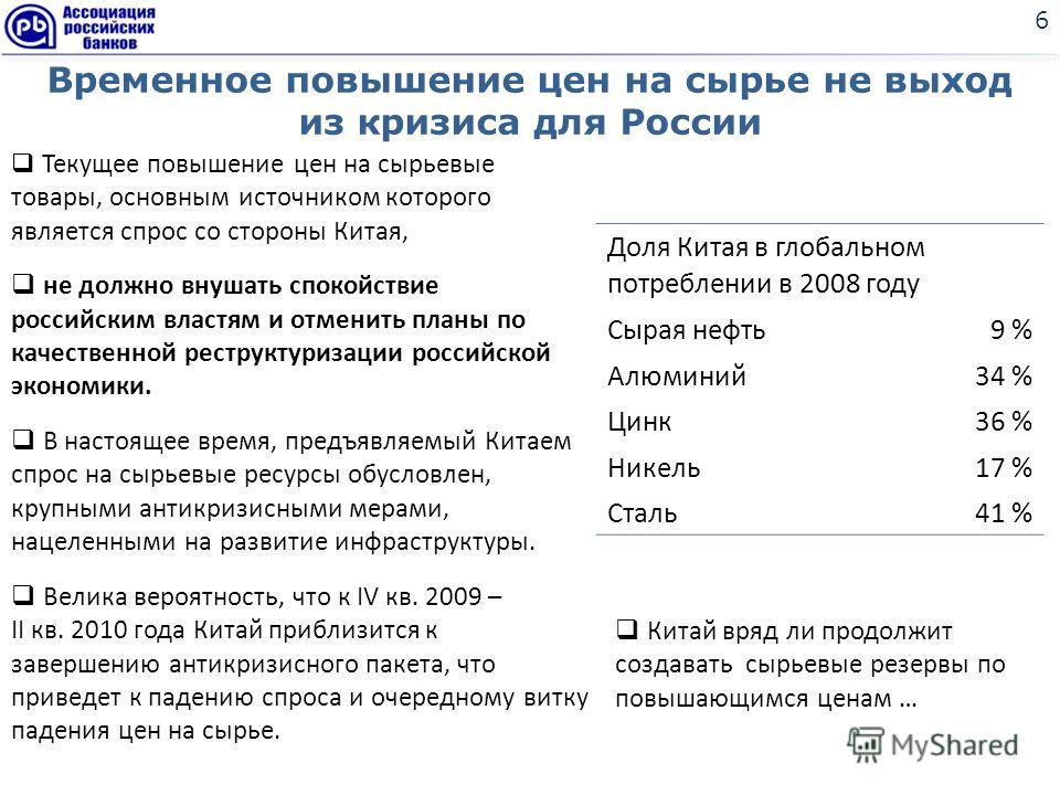 Временное повышение цен на сырье не выход из кризиса для России 6 Текущее повышение цен на сырьевые товары, основным источником которого является спрос со стороны Китая, не должно внушать спокойствие российским властям и отменить планы по качественно