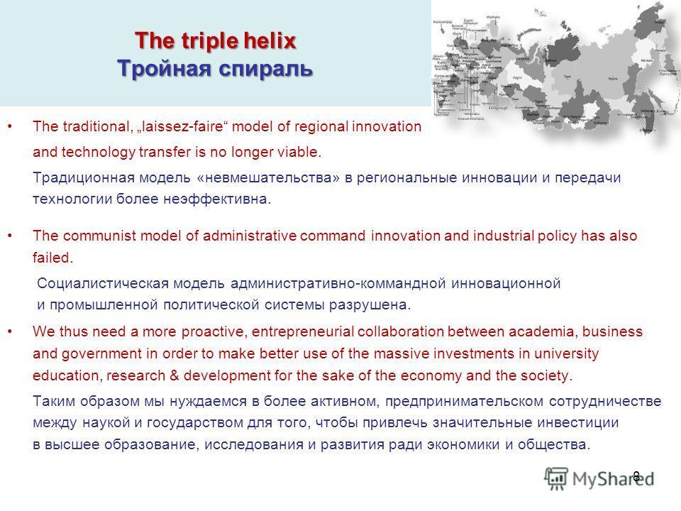 The triple helix Тройная спираль The traditional, laissez-faire model of regional innovation and technology transfer is no longer viable. Традиционная модель «невмешательства» в региональные инновации и передачи технологии более неэффективна. The com