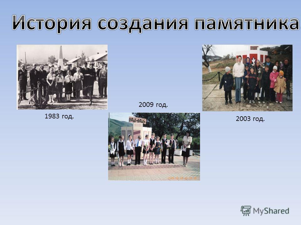 1983 год. 2003 год. 2009 год.