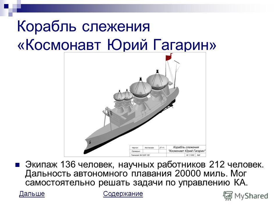 Корабль слежения «Космонавт Юрий Гагарин» Экипаж 136 человек, научных работников 212 человек. Дальность автономного плавания 20000 миль. Мог самостоятельно решать задачи по управлению КА. ДальшеДальше СодержаниеСодержание